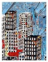 Blue, Black and White Cityscape Fine Art Print
