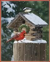 Cardinal / Chickadee In Snow Framed Print