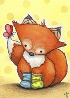 Little Fox in Socks Fine Art Print