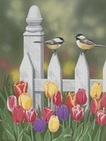 Chickadees And Tulips Framed Print