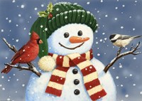 Snowman With Cardinal And Chickadee Fine Art Print