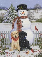 Backyard Snowman with Friends Fine Art Print
