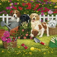 Garden Puppies Framed Print
