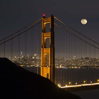 Golden Gate and Moon Fine Art Print