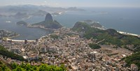 Elevated view of Botafogo neighborhood and Sugarloaf Mountain from Corcovado, Rio De Janeiro, Brazil Fine Art Print