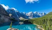 Moraine Lake at Banff National Park in the Canadian Rockies near Lake Louise, Alberta, Canada Fine Art Print