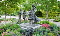 Bronze statue of mother and children, Temple Square, Salt Lake City, Utah, USA Fine Art Print