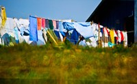 Laundry hanging on the line to dry, Michigan, USA Fine Art Print