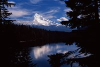 Reflection of a snow covered mountain in a lake, Mt Hood, Lost Lake, Mt. Hood National Forest, Hood River County, Oregon, USA Fine Art Print