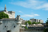 Low angle view of city walls, Pont Saint-Benezet, Rhone River, Avignon, Vaucluse, Provence-Alpes-Cote d'Azur, France Fine Art Print