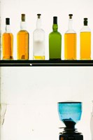 Bottles displayed at the Bookworm Cafe, Sanlitun, Chaoyang District, Beijing, China Fine Art Print