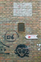 Art and signs painted on a brick wall, Dashanzi Art District, Dashanzi, Chaoyang District, Beijing, China Fine Art Print