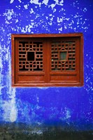 Blue Temple wall detail, Mingshan, Fengdu Ghost City, Fengdu, Yangtze River, Chongqing Province, China Fine Art Print