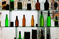 Bottles displayed at foreigner bar, Old Town, Dali, Yunnan Province, China Fine Art Print