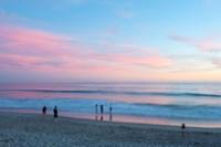 Tourists on the beach at sunset, Santa Monica, California, USA Fine Art Print