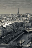 City with Eiffel tower in the background viewed from Notre Dame Cathedral, Paris, Ile-de-France, France Fine Art Print