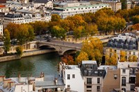 Seine River and city viewed from the Notre Dame Cathedral, Paris, Ile-de-France, France Fine Art Print