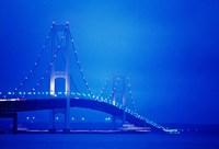 Fog surrounding the Mackinac Bridge at dusk, Michigan, USA Fine Art Print