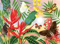 Butterflies and Red Christmas Heliconia Fine Art Print