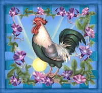 Morning Glory Rooster I Fine Art Print