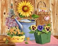 Pansies & Sunflowers Fine Art Print