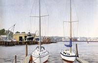 Sailboats At Dock Fine Art Print