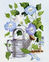 Watering Can And Morning Glories Fine Art Print