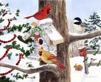 Winter Birdhouse And Cardinals Fine Art Print
