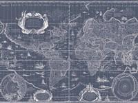 Blueprint World Map Fine Art Print