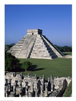 Ancient structures, El Castillo, Chichen Itza (Mayan), Mexico Fine Art Print