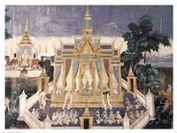 Wall mural depicting the Ramayana story, Royal Pavilion Fine Art Print