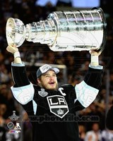 Dustin Brown with the Stanley Cup Game 5 of the 2014 Stanley Cup Finals Fine Art Print