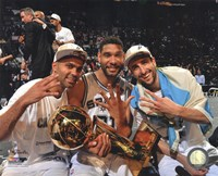 Tony Parker, Tim Duncan, Manu & Ginobili with the NBA Championship Trophy Game 5 of the 2014 NBA Finals Framed Print