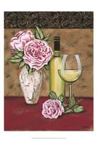 Vintage Flowers & Wine II Fine Art Print