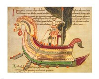 Viking Dragon Ship Fine Art Print
