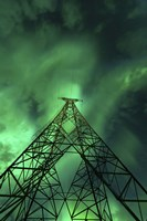 Powerlines and aurora borealis, Tjeldsundet, Norway Fine Art Print