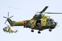 Romanian Air Force IAR-330L SOCAT helicopters Fine Art Print