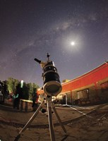 Astrophotography setup with the moon and Milky Way in the background Fine Art Print