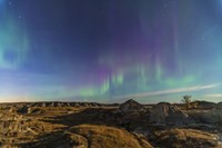 Aurora borealis over the badlands of Dinosaur Provincial Park, Canada Fine Art Print