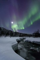 Aurora Borealis over the Blafjellelva River in Troms County, Norway Fine Art Print