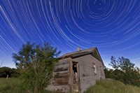 Circumpolar star trails above an old farmhouse in Alberta, Canada Fine Art Print