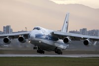 An Antonov An-124 aircraft taking off from Sofia Airport, Bulgaria Fine Art Print