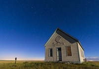 The 1909 Liberty School on the Canadian Prarie in moonlight with Big Dipper Fine Art Print