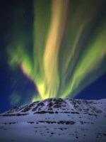 Aurora Borealis over Toviktinden Mountain in Troms County, Norway Fine Art Print