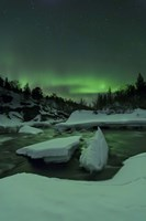 Aurora Borealis, Tennevik River, Troms, Norway Fine Art Print