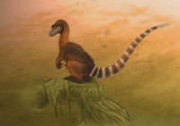 A Sinosauropteryx dinosaur resting on a log Fine Art Print