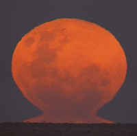 The Thunder's Moon rising over Rio de La Plata, Argentina Fine Art Print