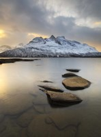 Novatinden Mountain and Skoddeberg Lake in Troms County, Norway Fine Art Print