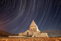 Star trails above Saint Thaddeus Monastery, Iran Fine Art Print