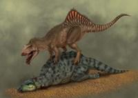 A Concavenator kills a young iguanodon dinosaur Fine Art Print